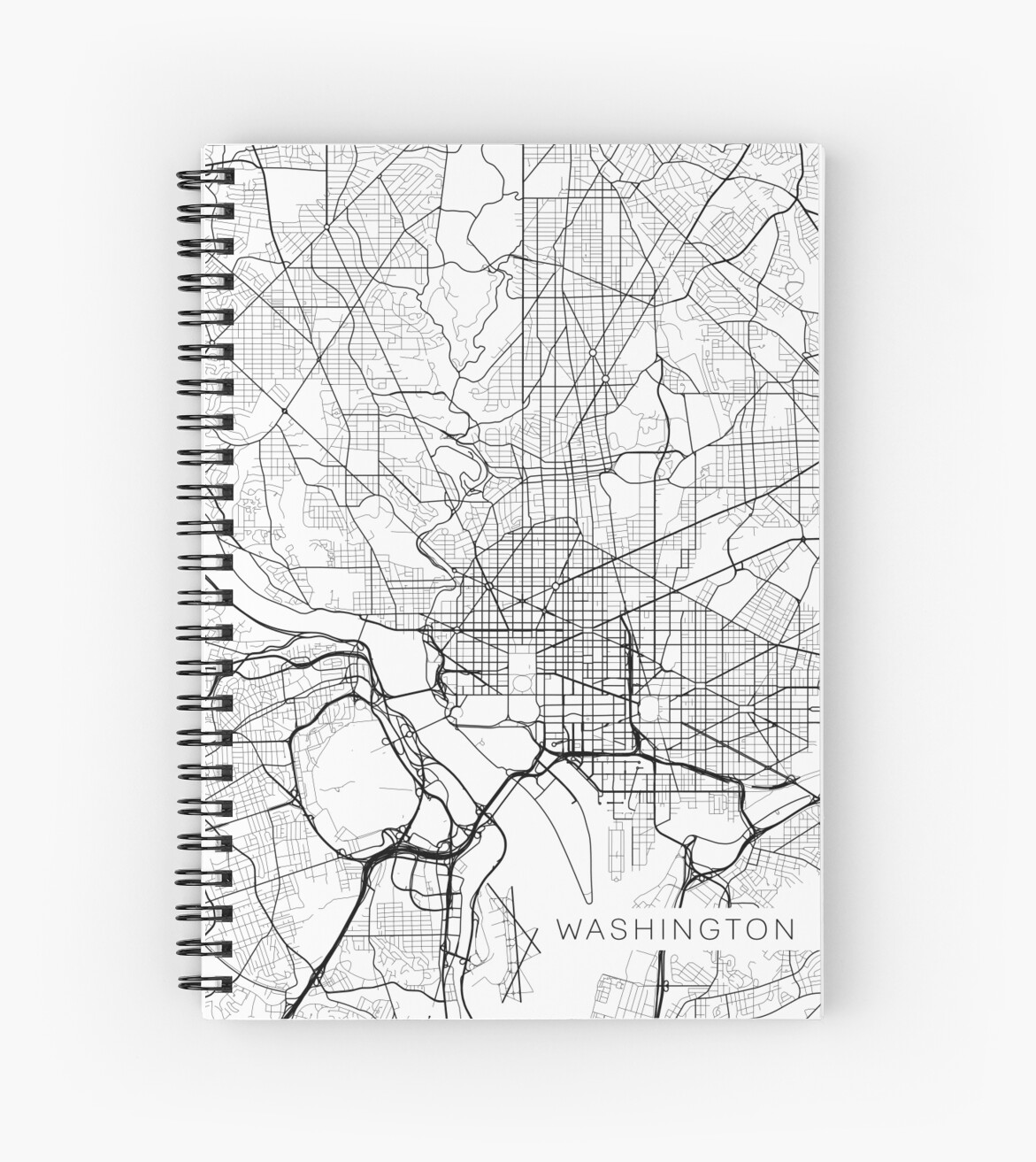 Washington Dc Map Usa Black And White Spiral Notebooks By