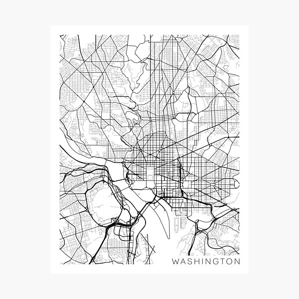 Washington DC Map, USA - Black and White Photographic Print