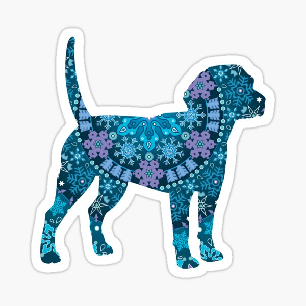 Beagle Bohemian Blue Sticker