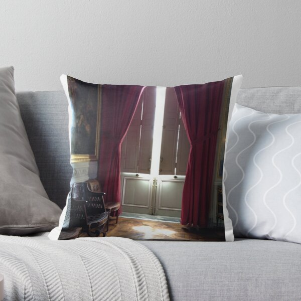 Versailles Trianon window and curtains detail Throw Pillow