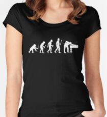 Evolution Of 8 Ball Funny Billiards T Shirt Women's Fitted Scoop T-Shirt
