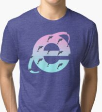 Vaporwave | Dolphins | Internet Explorer | HIGH QUALITY! | NEW! Tri-blend T-Shirt