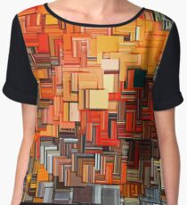 Orange Abstract  Women's Chiffon Top