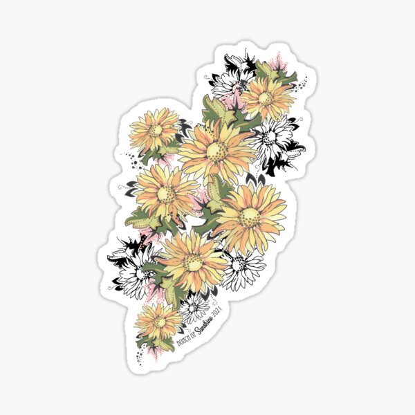 Colorful Sunflower Cascading Bunch - Placed Graphic Sticker
