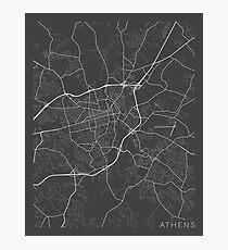 Athens Map, USA - Gray Photographic Print