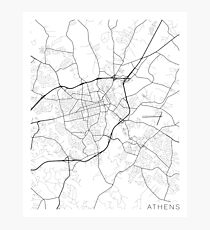 Athens Map, USA - Black and White Photographic Print