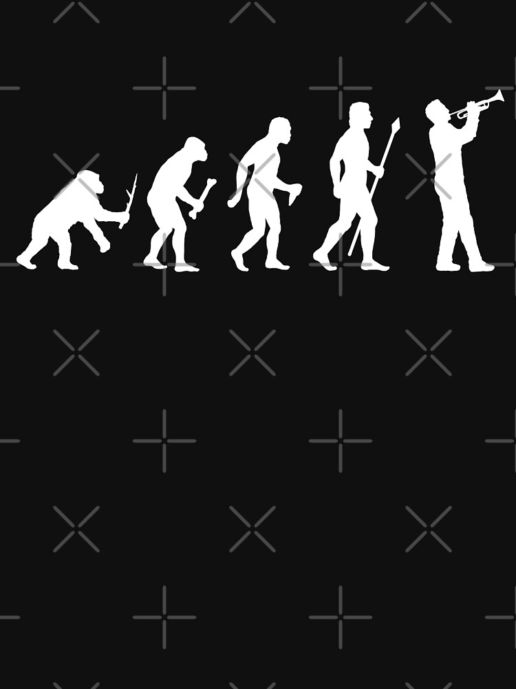 Funny Trumpet Evolution Of Man Silhouette by BeyondEvolved