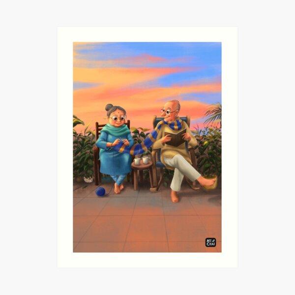 Knitting life together Art Print