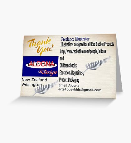 Aldona Designs:Logo on a thank you card Greeting Card