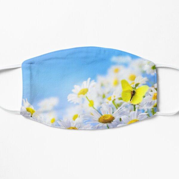 yellow butterfly on a field daisy, in a field under a blue sky Flat Mask