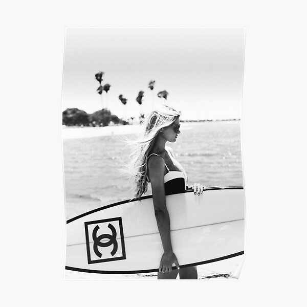 Surf girl with fashion surfboard, Beach Wall Art Poster
