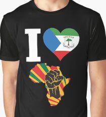 I Love Africa Map Black Power Equatorial Guinea Flag T-Shirt Graphic T-Shirt