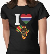I Love Africa Map Black Power Gambia Flag T-Shirt Women's Fitted T-Shirt