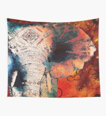 Indian Sketched Elephant Wall Tapestry