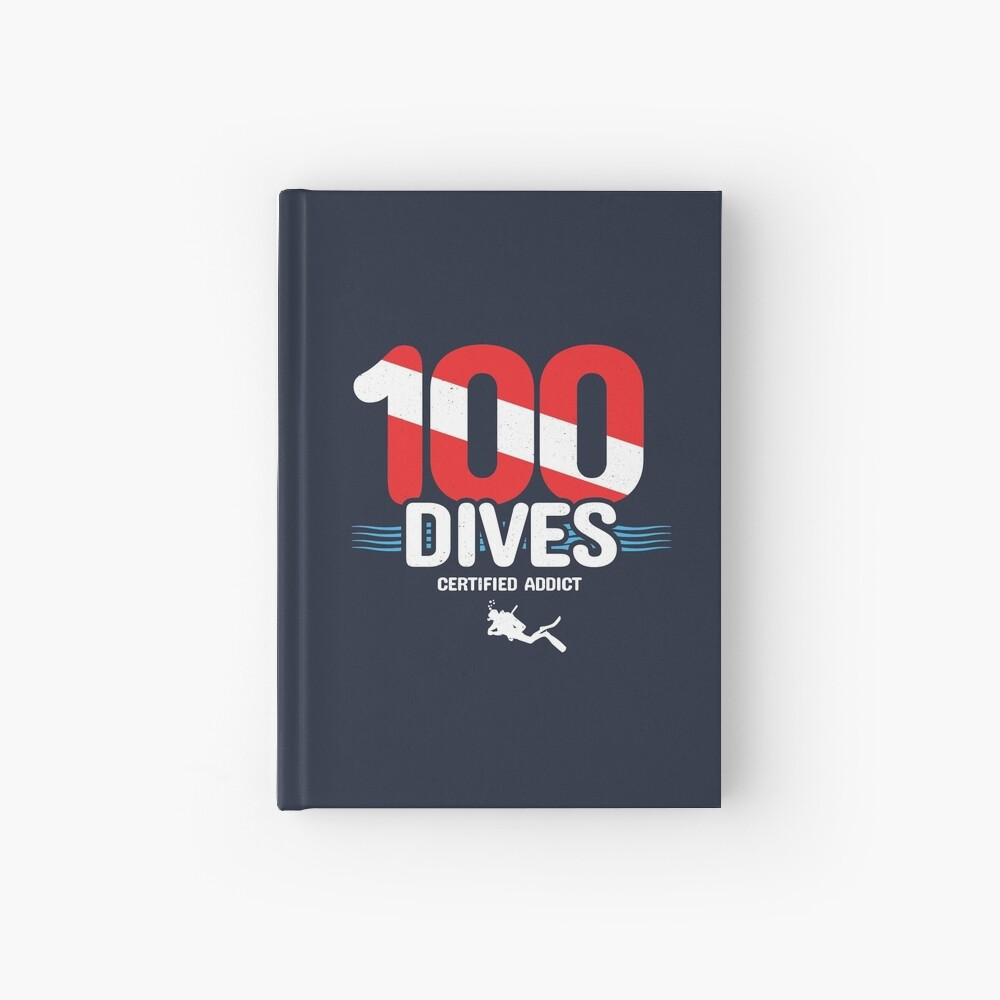 100th Dive Gift - Diver Down Flag - Scuba Diving Hardcover Journal