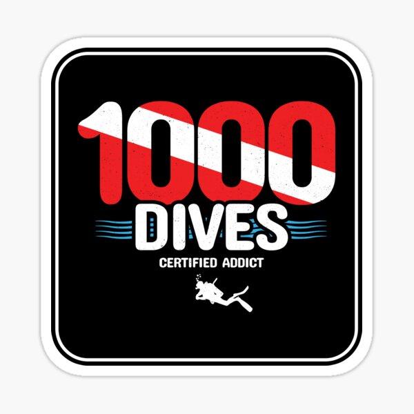1000th Dive - Diver Down Flag - Scuba Diving Sticker