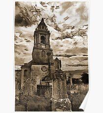 St George's Church, Southwell, Portland, Dorset, UK (Sepia version) Poster