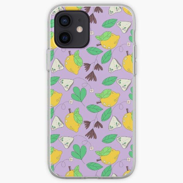 Lemon, Floral and Tea Print on Purple Background  iPhone Soft Case