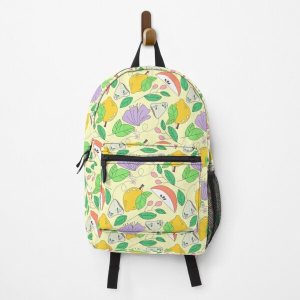 Lemon, Floral, Apple and Tea Print on yellow Background  Backpack