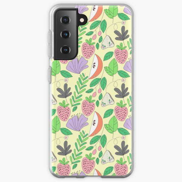 Lemon, Floral, Apple, strawberry and Tea Print on yellow Background  Samsung Galaxy Soft Case