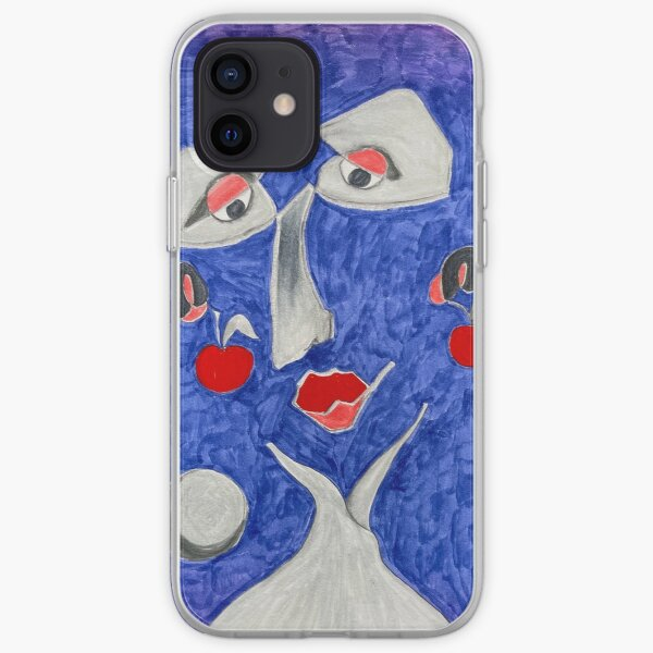 Blue face with cherries iPhone Soft Case