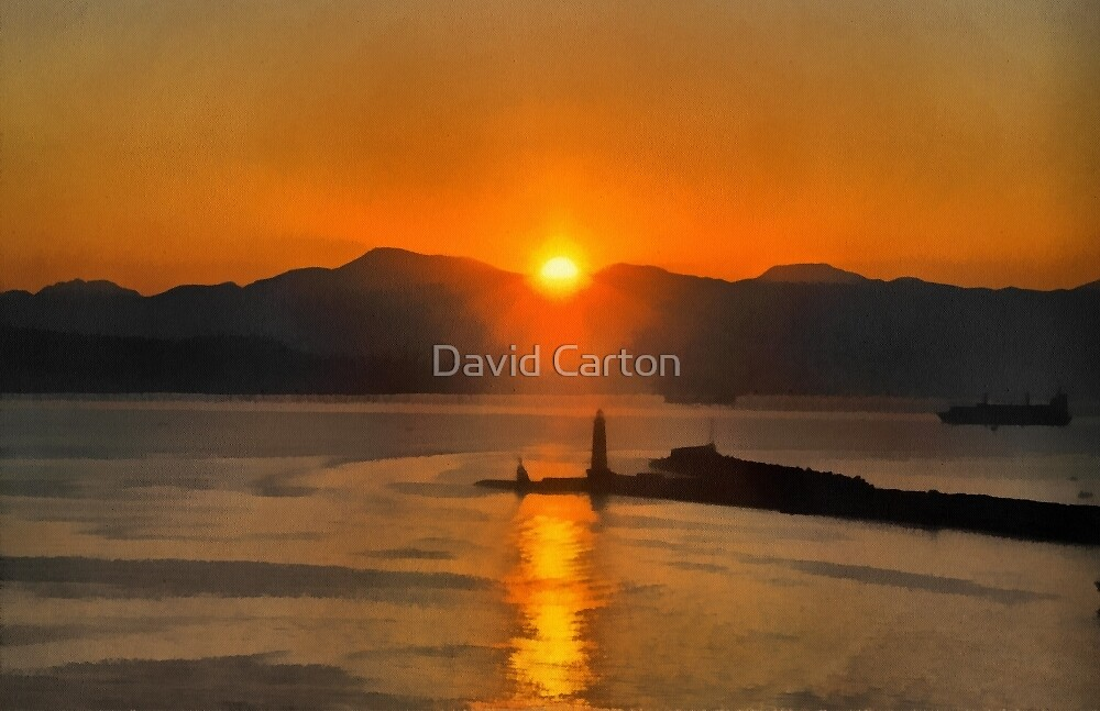 Mount Vesuvius and the lighthouse, bay of Naples at Sunrise by David Carton