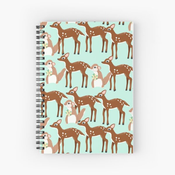 Sweet Deer and Chipmunk Print Spiral Notebook