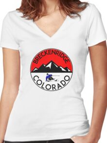 BRECKENRIDGE COLORADO Ski Skiing Mountain Mountains Skiing Skis Silhouette Women's Fitted V-Neck T-Shirt