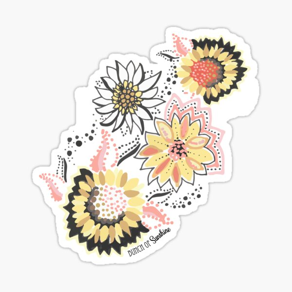 Sunflower Floral Graphic Placement - Cool Bold Linework Flowers Sticker