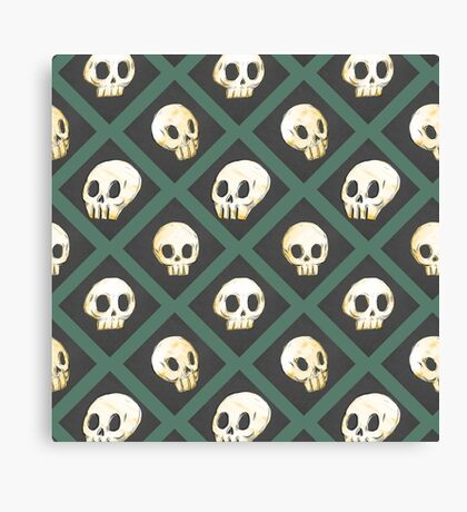 Tiling Skulls 3/4 - Green Canvas Print