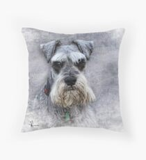 Serious Schnauzer Throw Pillow