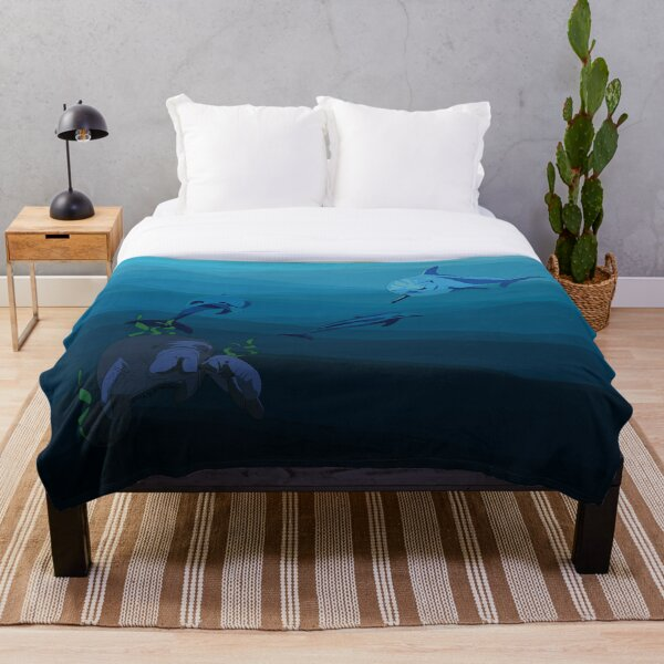Underwater Geometric Water with Dolphins and Manatees  Throw Blanket