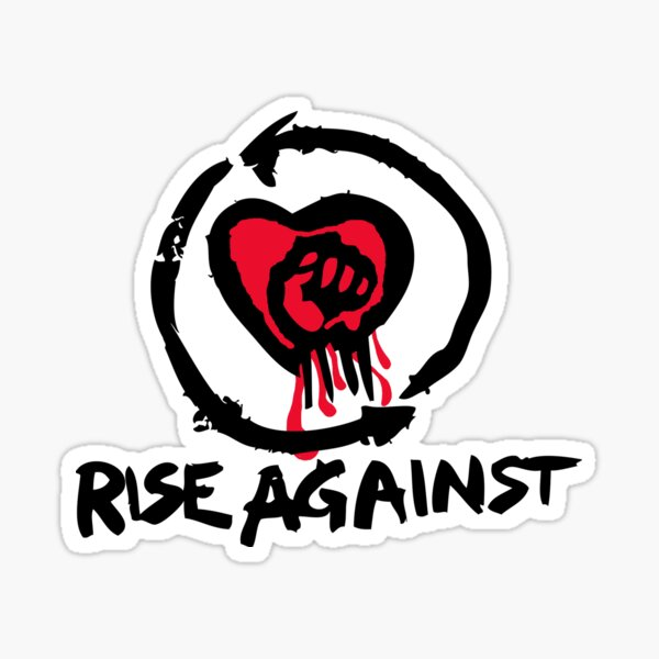 Rise Against -  Bleeding heart and fist graphic. Awesome punk rock / alternative band.  Sticker