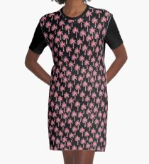 Pink Palm Trees on Black Background Graphic T-Shirt Dress