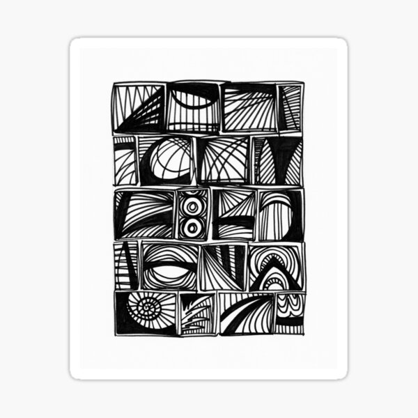 Communication Black and White Abstract Design Sticker