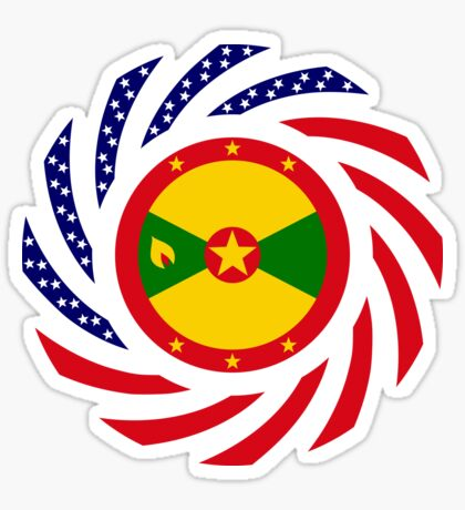 Grenadian American Multinational Patriot Flag Series Glossy Sticker