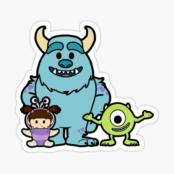 Monster Inc Group Chibi Pegatina