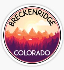 BRECKENRIDGE COLORADO Ski Skiing Mountain Mountains Skiing Skis Silhouette Snowboard Snowboarding  Sticker