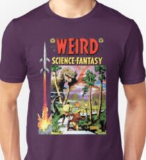 Weird Science Fiction Dinosaur, rockets, pulp fiction Unisex T-Shirt
