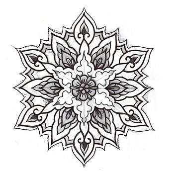 Traditional Mandala Flash Black and White by HorimonoAtelier