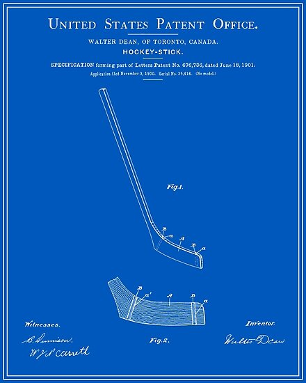 Hockey stick patent blueprint posters by finlaymcnevin redbubble hockey stick patent blueprint by finlaymcnevin malvernweather Images