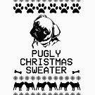 Pugly Christmas Sweater (black)  by fashprints