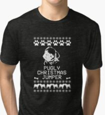 Pugly Christmas Jumper (White) Tri-blend T-Shirt