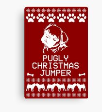 Pugly Christmas Jumper (White) Canvas Print
