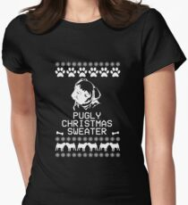 Pugly Christmas Sweater (White) Women's Fitted T-Shirt