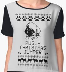 Pugly Christmas Jumper (Black) Chiffon Top