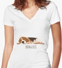 Beagles Women's Fitted V-Neck T-Shirt