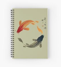 Black and Orange Koi Circle Spiral Notebook