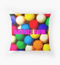 Bubble Gum with text Throw Pillow
