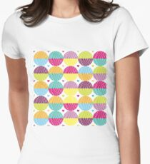 Retro,polka dots,big,cool,pattern,red,hot pink,yellow,orange,green,lime,purple Womens Fitted T-Shirt
